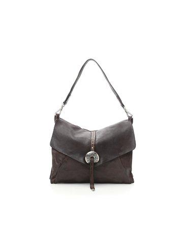 Campomaggi Shoulder bag. Genuine leather + Belt oval buckle. Moro.