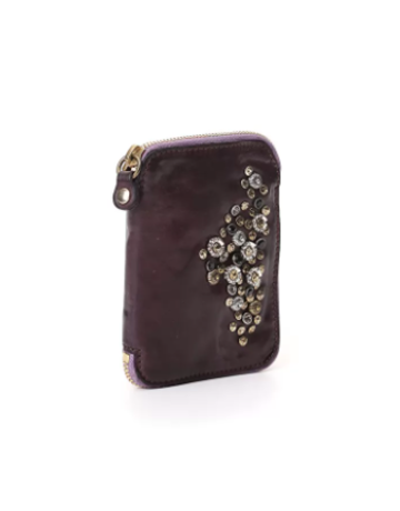Campomaggi Wallet. Genuine Leather w Mixed Studs. Aubergine.