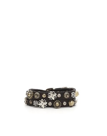 Campomaggi Bracelet. Double. Leather with seams and piercing. Black.