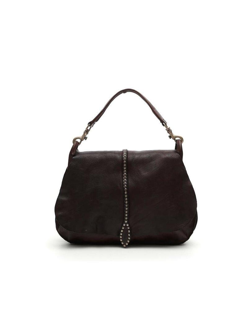 Campomaggi 100% genuine leather. Cross body. Studs profile. Moro.