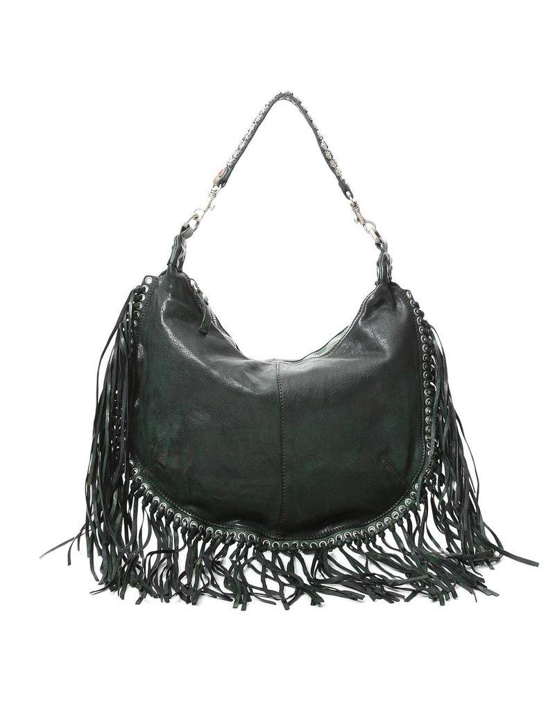 Campomaggi 100% genuine leather. Line CAMELIA. Shoulder bag with studs & frills. Green Bottle.