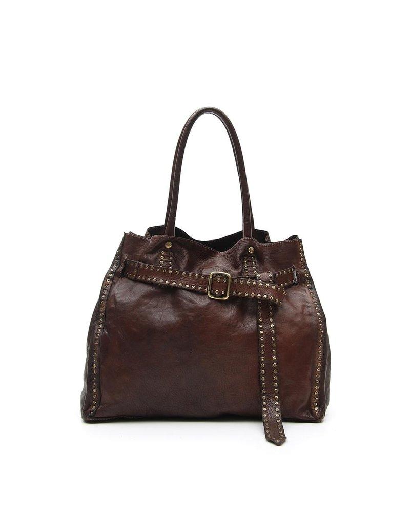Campomaggi 100% genuine leather. Line IPERICO. Shopper. Moro.