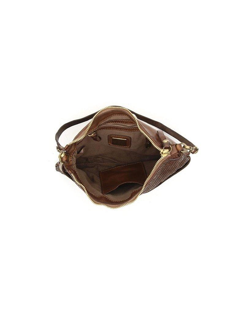 Campomaggi Genuine Leather. Pochette. Thin woven + Studs. Moro.