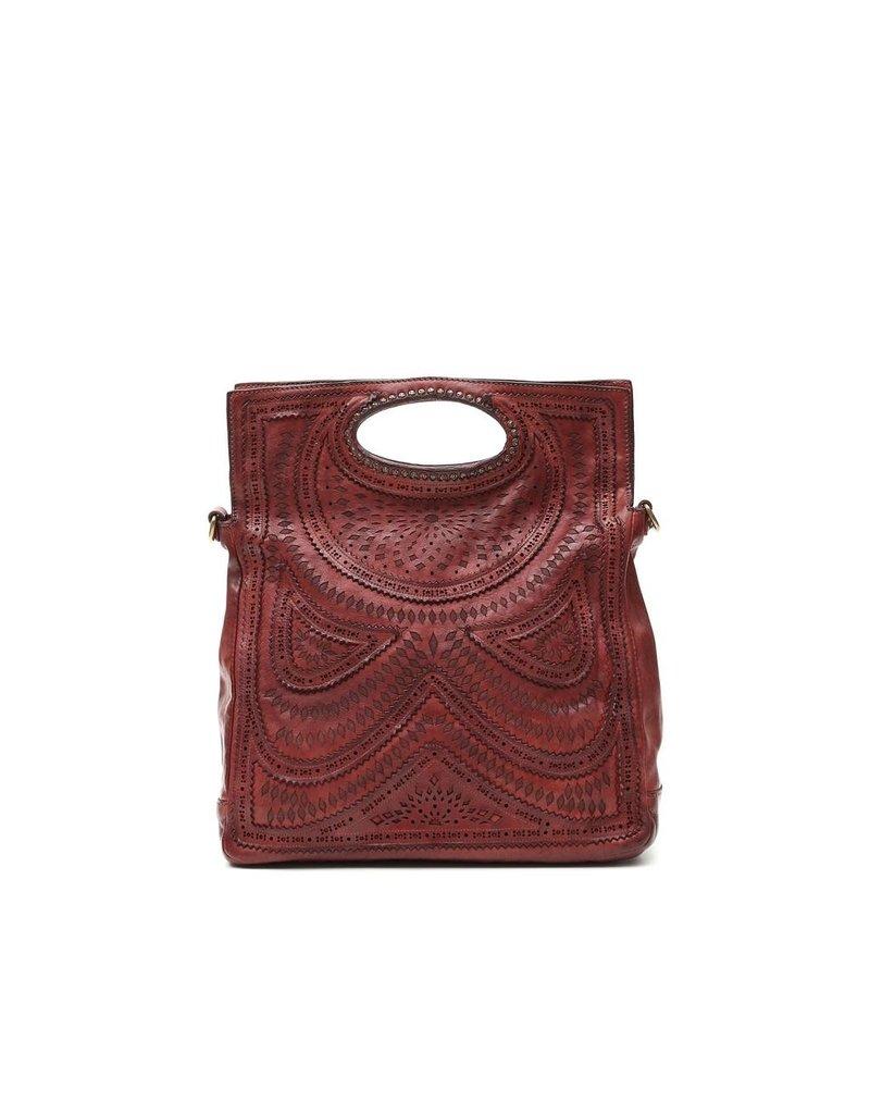 Campomaggi Genuine leather. Shopping bag. Laser Ambra. Wine.