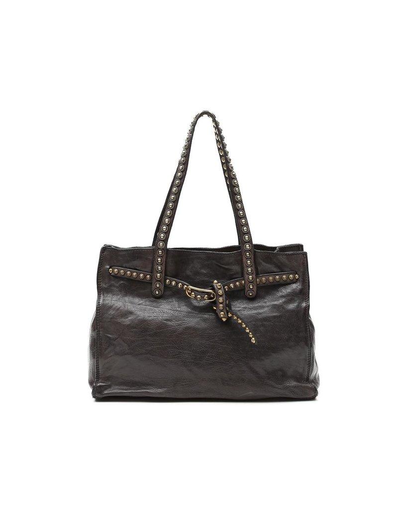 Campomaggi 100% genuine leather. Shopper. Studs. Grigio.