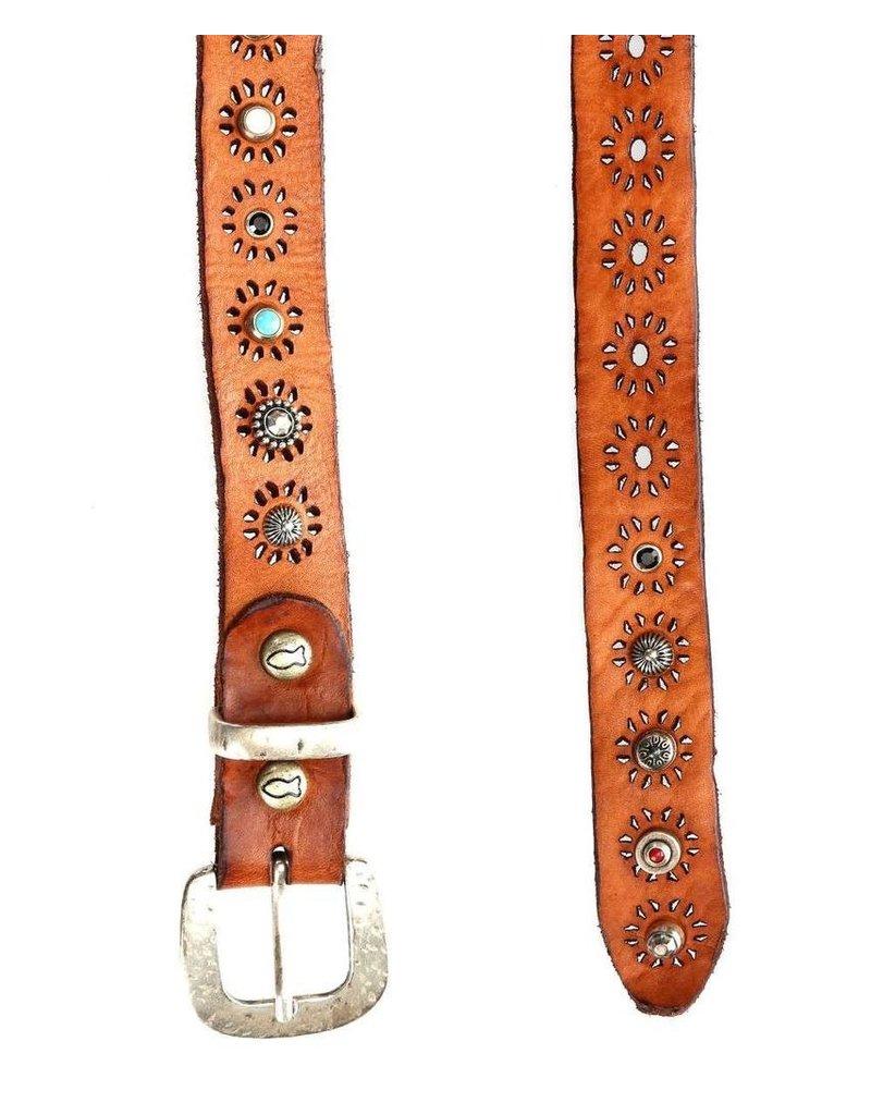 Campomaggi Belt. Leather w studs avenna? Cognac. H3. Size 80