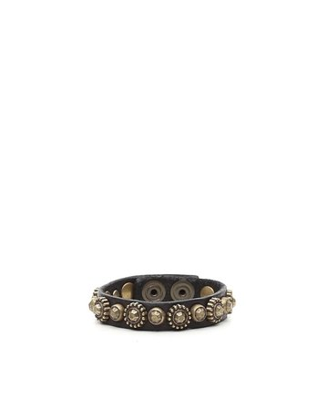 Campomaggi 100% genuine leather. Bracelet with Studs. Black.