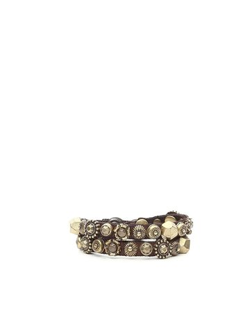Campomaggi 100% genuine leather. Bracelet double with Studs. Moro