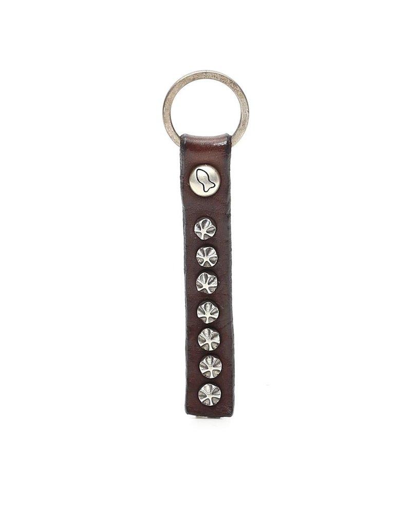 Campomaggi Key Holder. Genuine leather. Flower Studs. Moro.