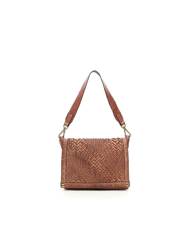 Campomaggi Genuine Leather. Small crossbody bag. Optical woven. Pink.