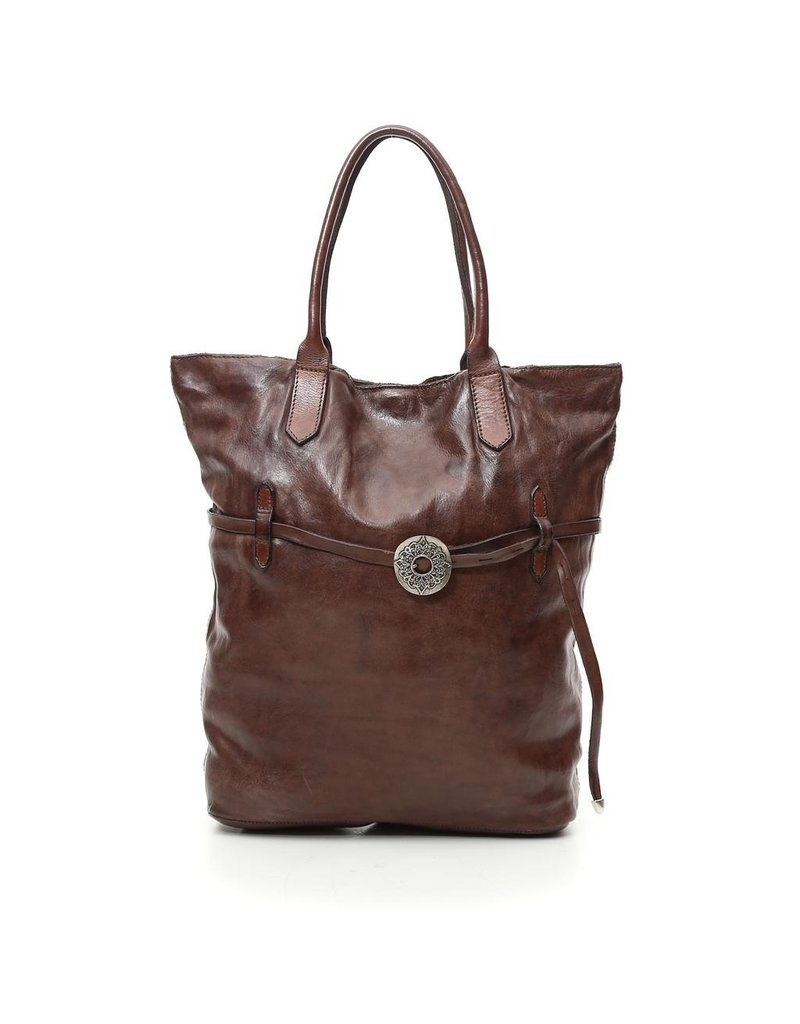 Campomaggi Shopping bag. Genuine leather + Belt oval buckle. Moro.