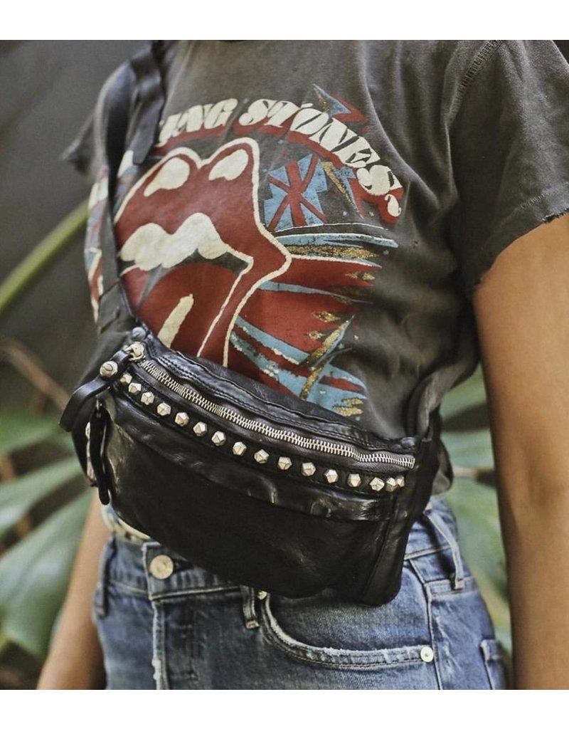 Campomaggi Waist bag. Genuine leather + Matera Studs. Black.