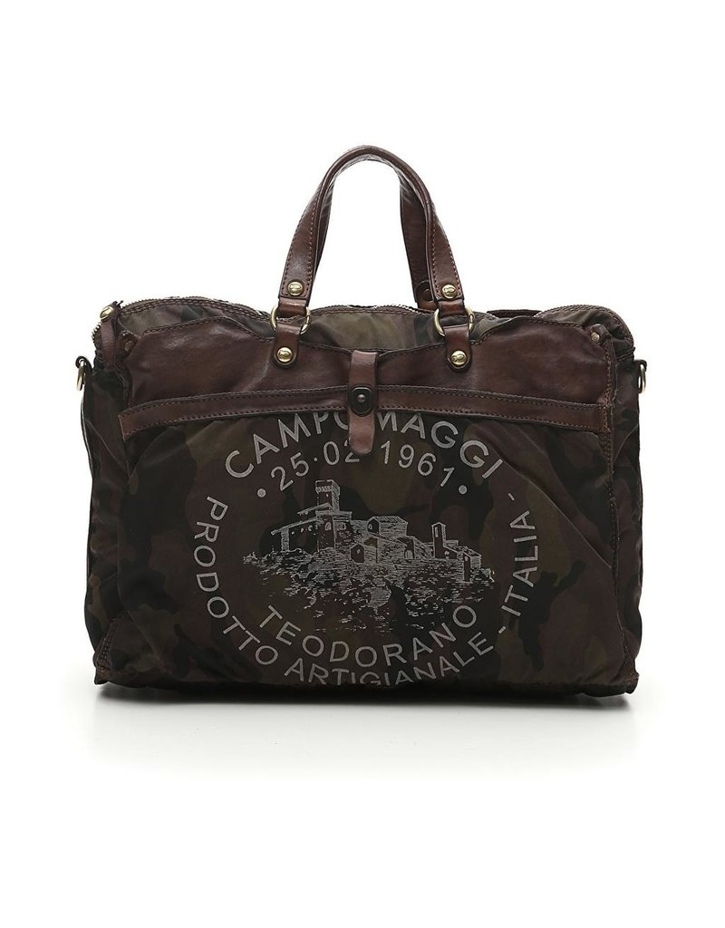 Campomaggi Briefcase. Leather and Canvas. Camouflage Stained Brown + Transparent print.