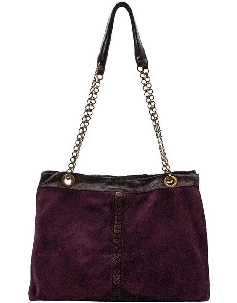 Campomaggi Shoulder bag. Medium. Leather + suede + seams. Aubergine.
