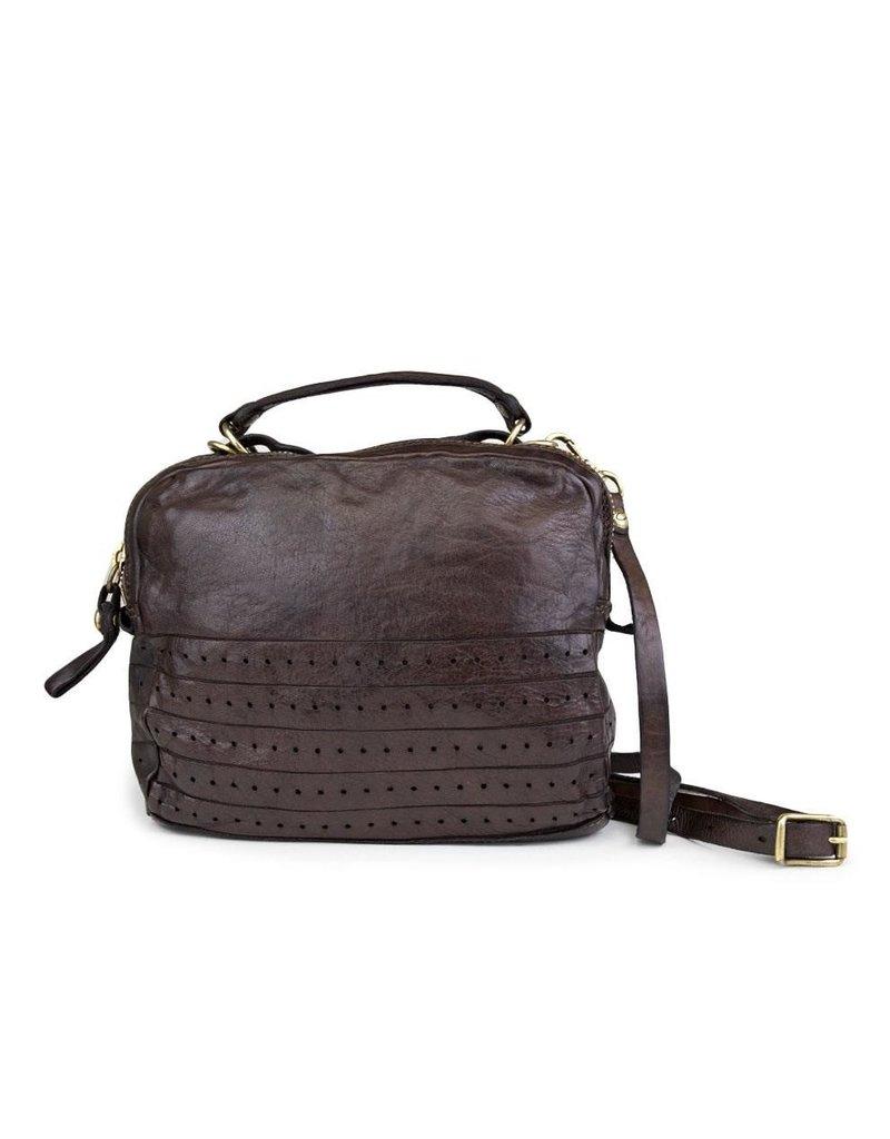 Campomaggi Bowling bag. Genuine leather. Laser Stripes + Holes. Grigio.