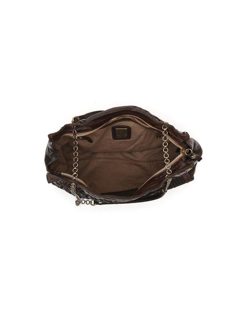 Campomaggi Shopping bag. Genuine leather + reverse woven. Aubergine.