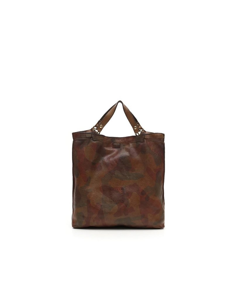 Campomaggi Shopping bag. Small. Genuine Leather. Camouflage. Moro.