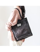 Campomaggi Shopping bag. Vertical Big. Genuine leather. Military Green.