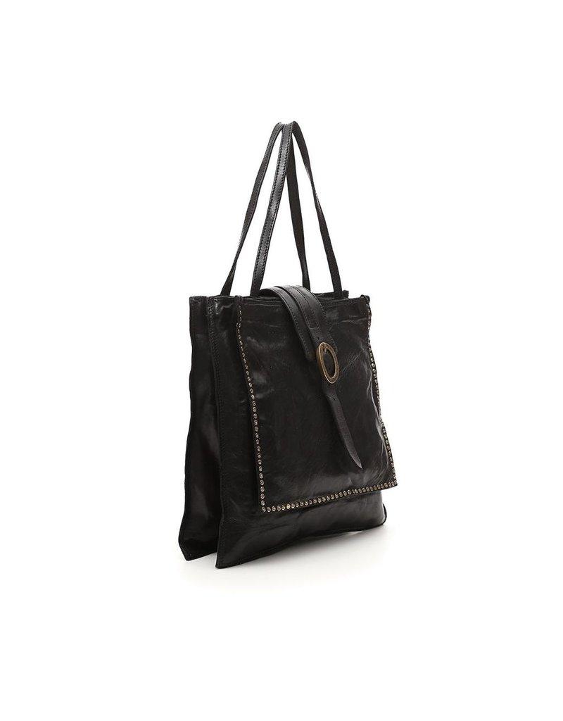 Campomaggi Shoulder bag. Vertical. Genuine leather + oval buckle strap + studs. Black.