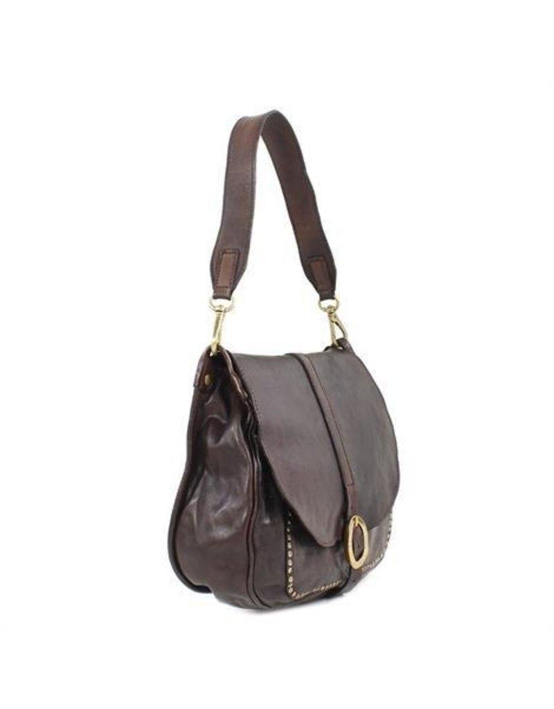 Campomaggi Shoulder bag. Medium. Genuine leather + oval buckle strap + studs. Cognac.