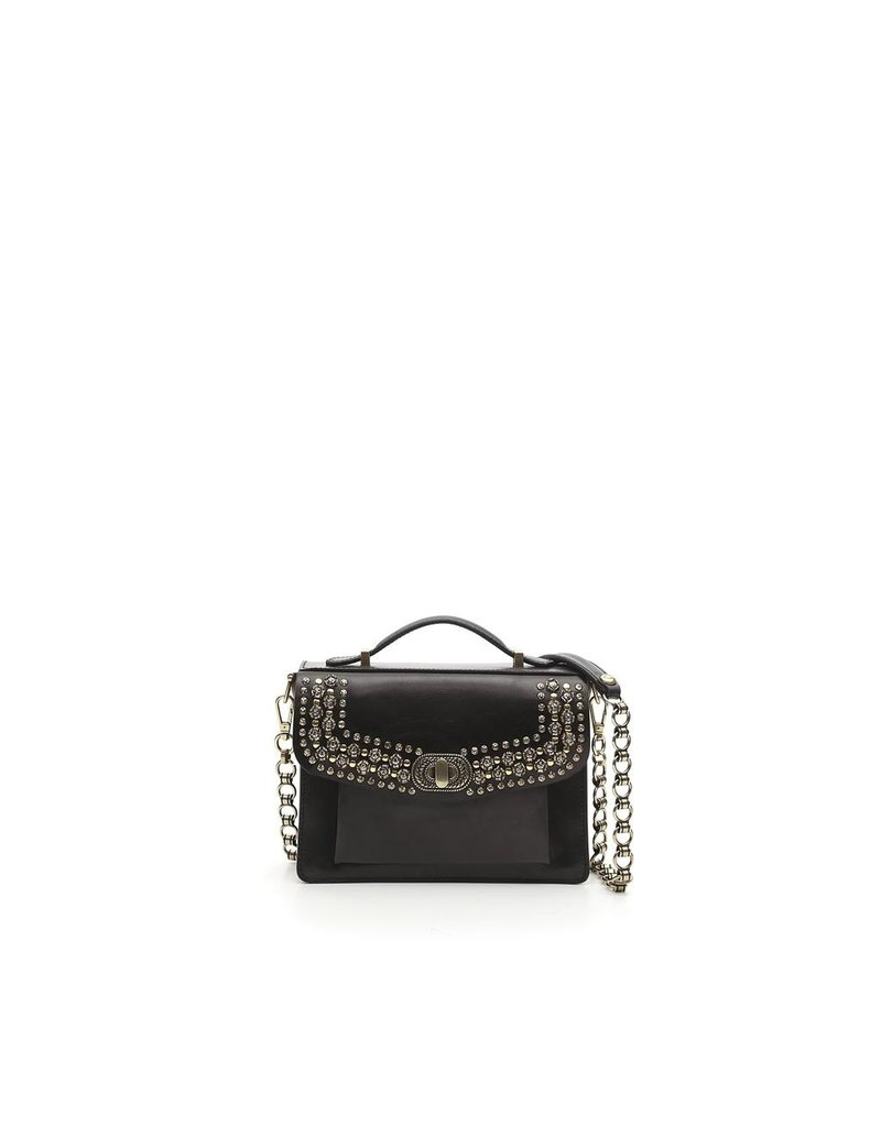 Campomaggi Briefcase small. Genuine leather + Flowered Studs. Black.