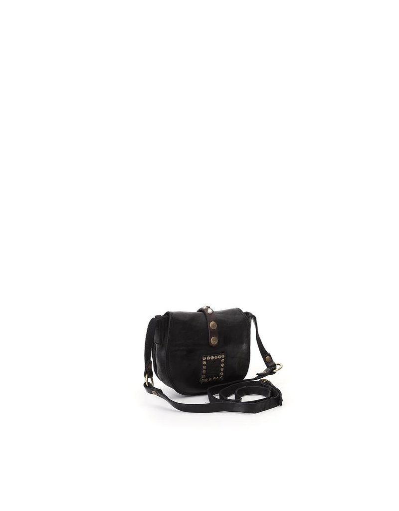 Campomaggi Crossbody. Small. Leather + Strap w Studs. Black