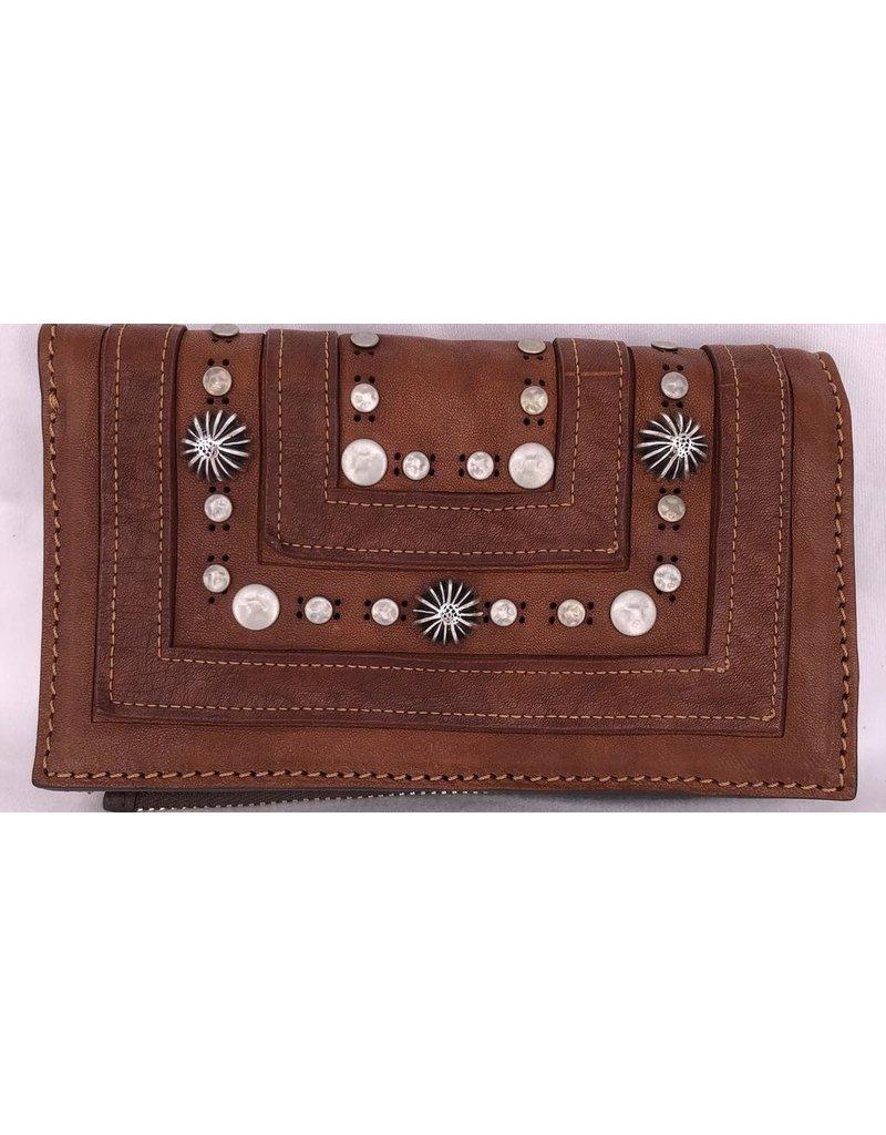 Campomaggi Wallet. Flat. Genuine leather. Laser Drop + Studs. Cognac.