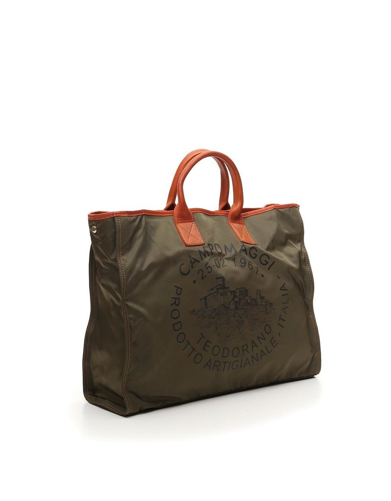 Campomaggi Shopping bag. Large. Nylon + Leather. Military + Baked + Black Print.