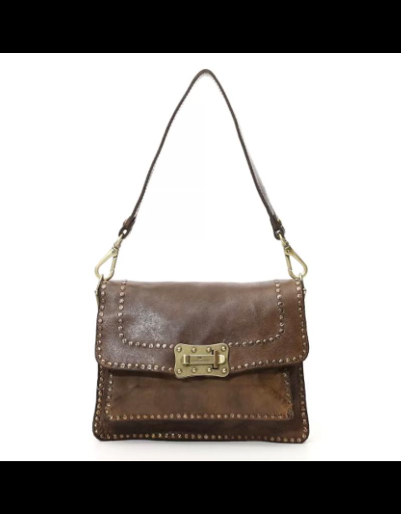 Campomaggi Agnese M Crossbody bag. Medium. Genuine Leather + Studs. Grigio.