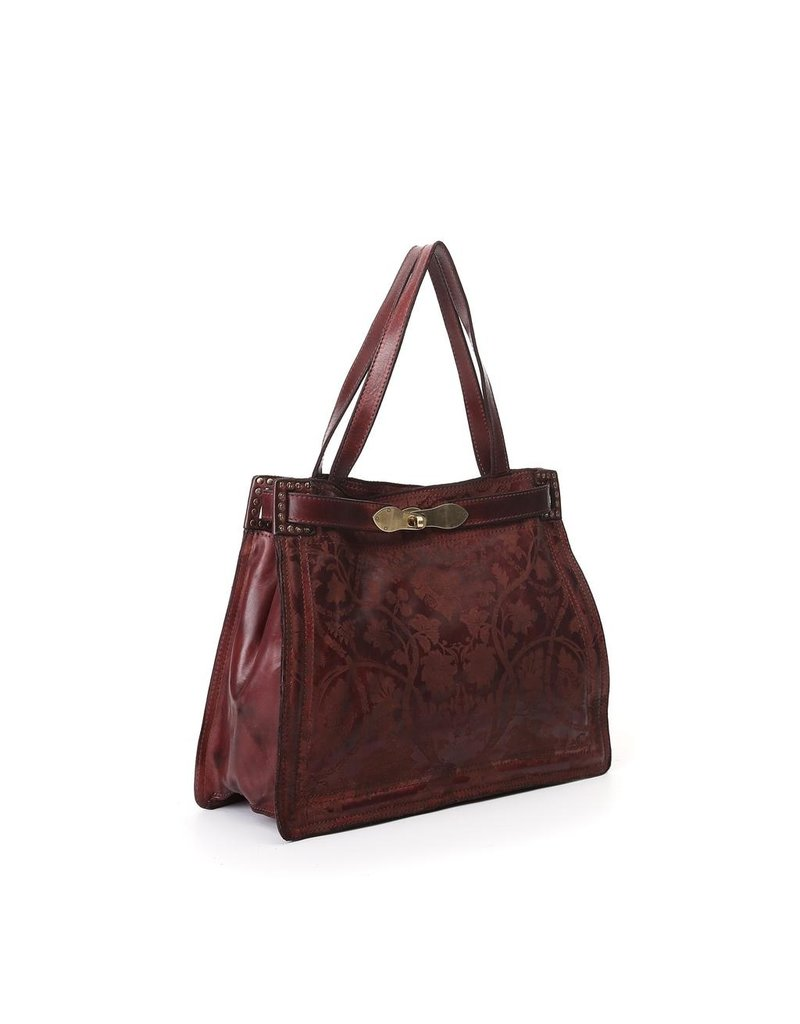 Campomaggi Shoulder bag. Medium. Genuine leather. Floral Raster. Wine.