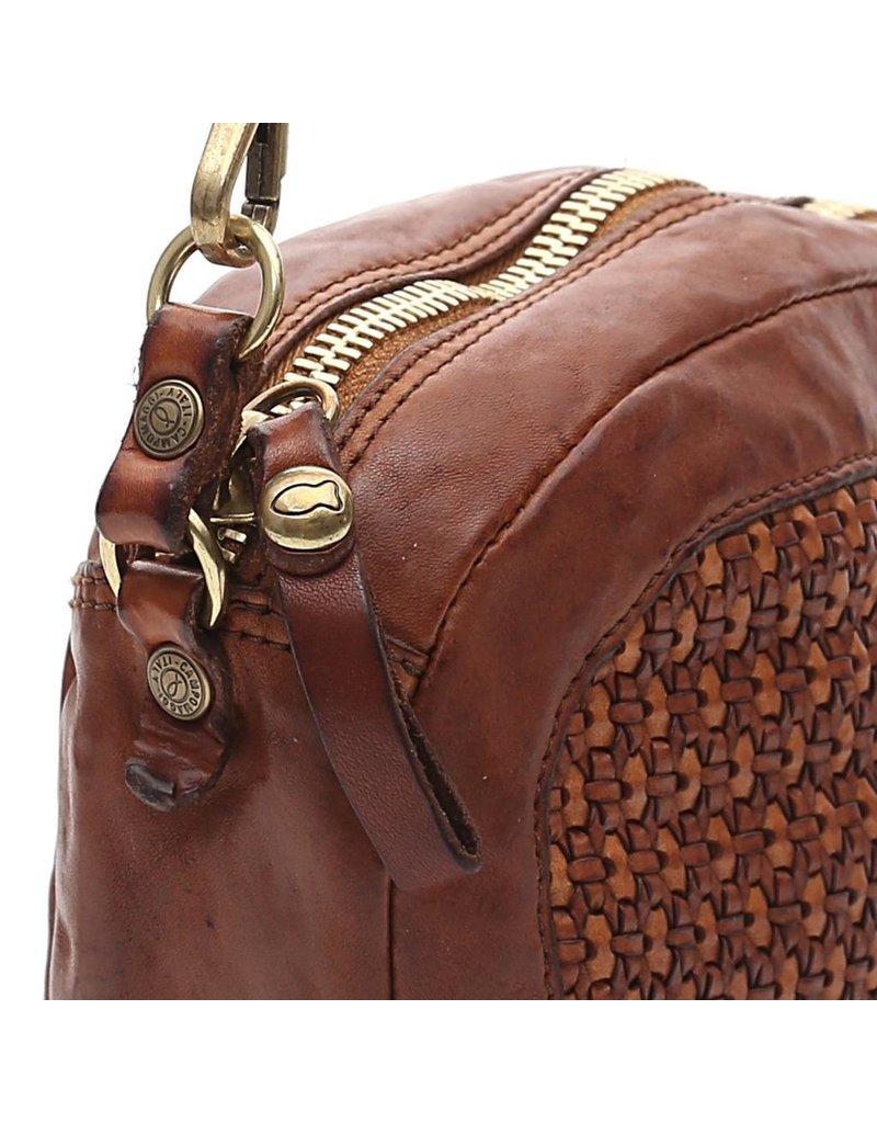 Campomaggi Crossbody bag. Small Oval. Honeycomb woven. Cognac
