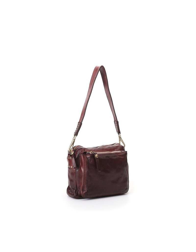 Campomaggi Cross body bag. Small. Genuine Leather + Studs Profile. Wine.