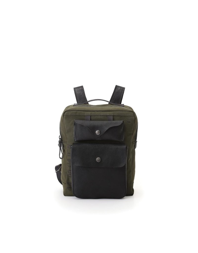Campomaggi Backpack. Small Canvas illys?+ Leather. Military + Black + Black Print.