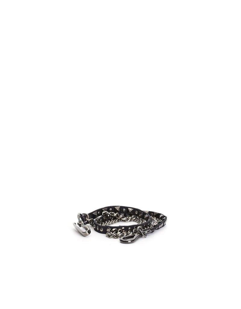 Campomaggi Shoulder Strap. Chain + Genuine Leather + Pyramid Studs. Black.