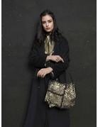 Caterina Lucchi Shoulder bag. Laminated Sheepskin + Calf leather. Black Gold.