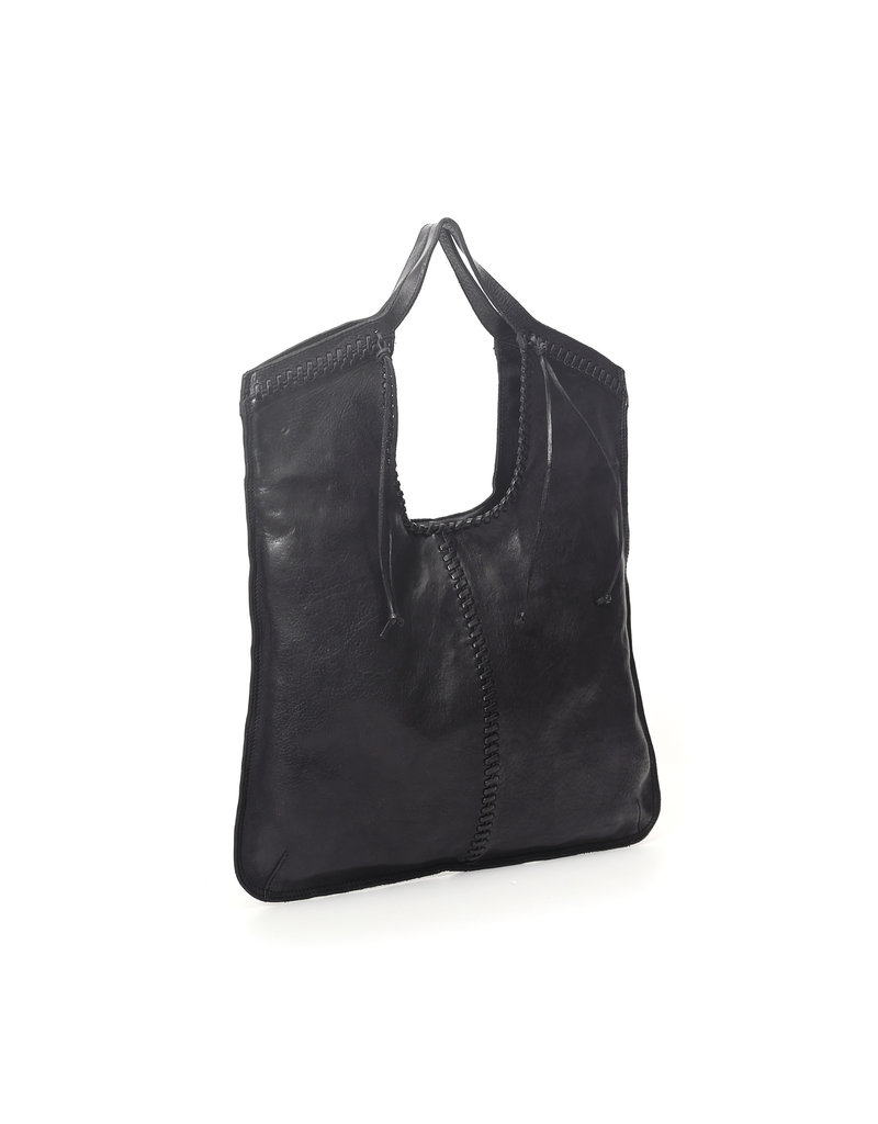 Campomaggi Shopping bag. Oval Handles. Genuine leather and seams. Black.