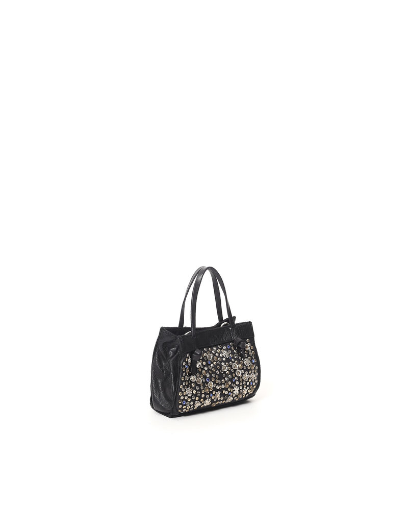 Campomaggi Crossbody Bag. Mini. Genuine leather + Aquamarine Decoration. Black.
