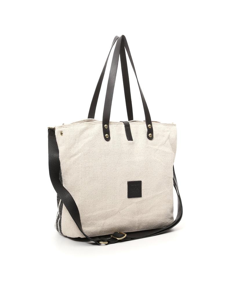 Campomaggi Shopping bag with striped cotton & Teodorano print