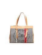 Campomaggi Shopping Bag. Medium. Genuine leather  + Striped Fabric. Handles + Knots. Natural + Blue Stripes + Black Print.