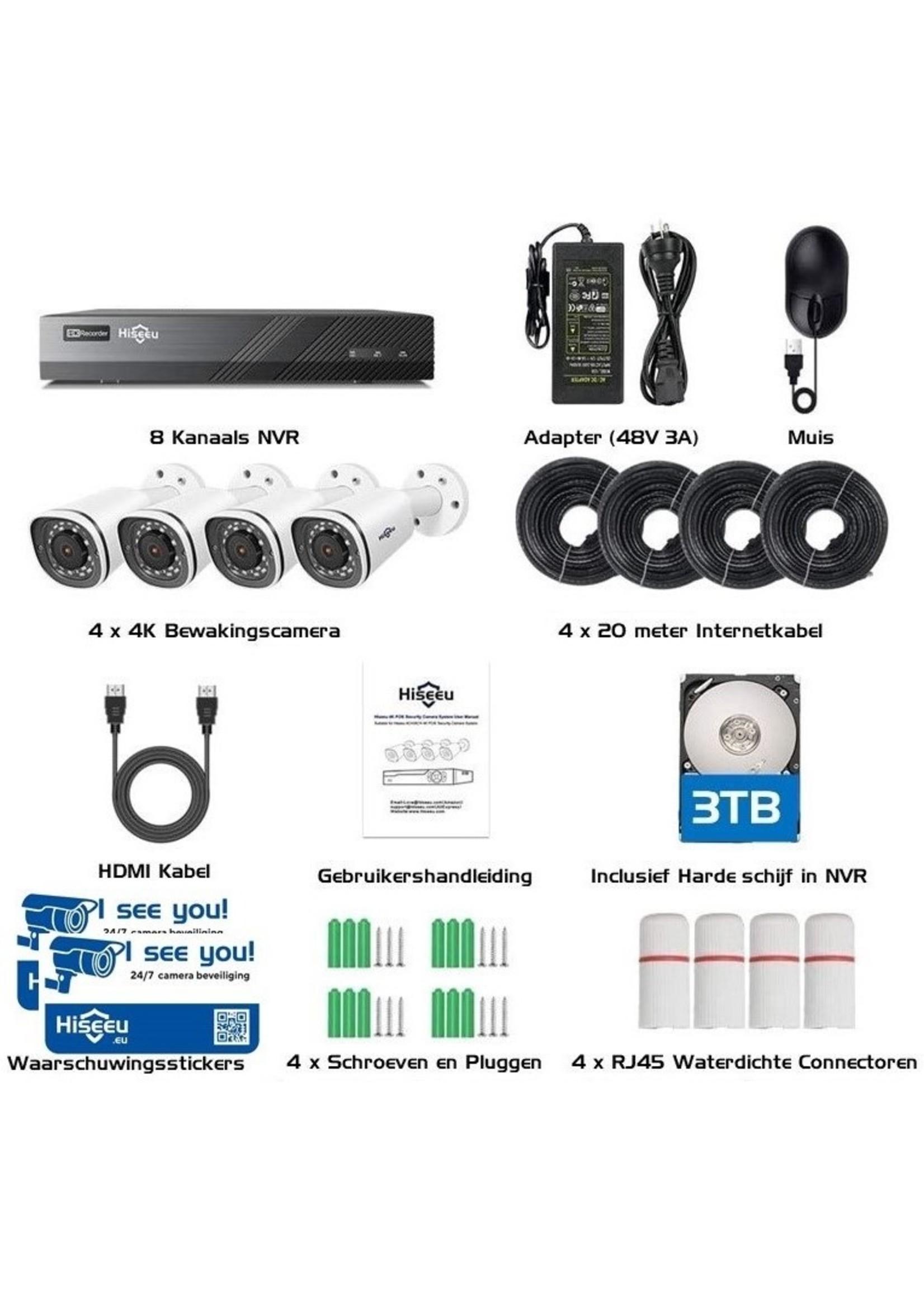 Complete Camerabewakingsset 8MP (4K) - Bekabeld (PoE)