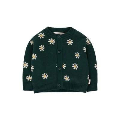 Tinycottons Daisies Baby Cardigan Green
