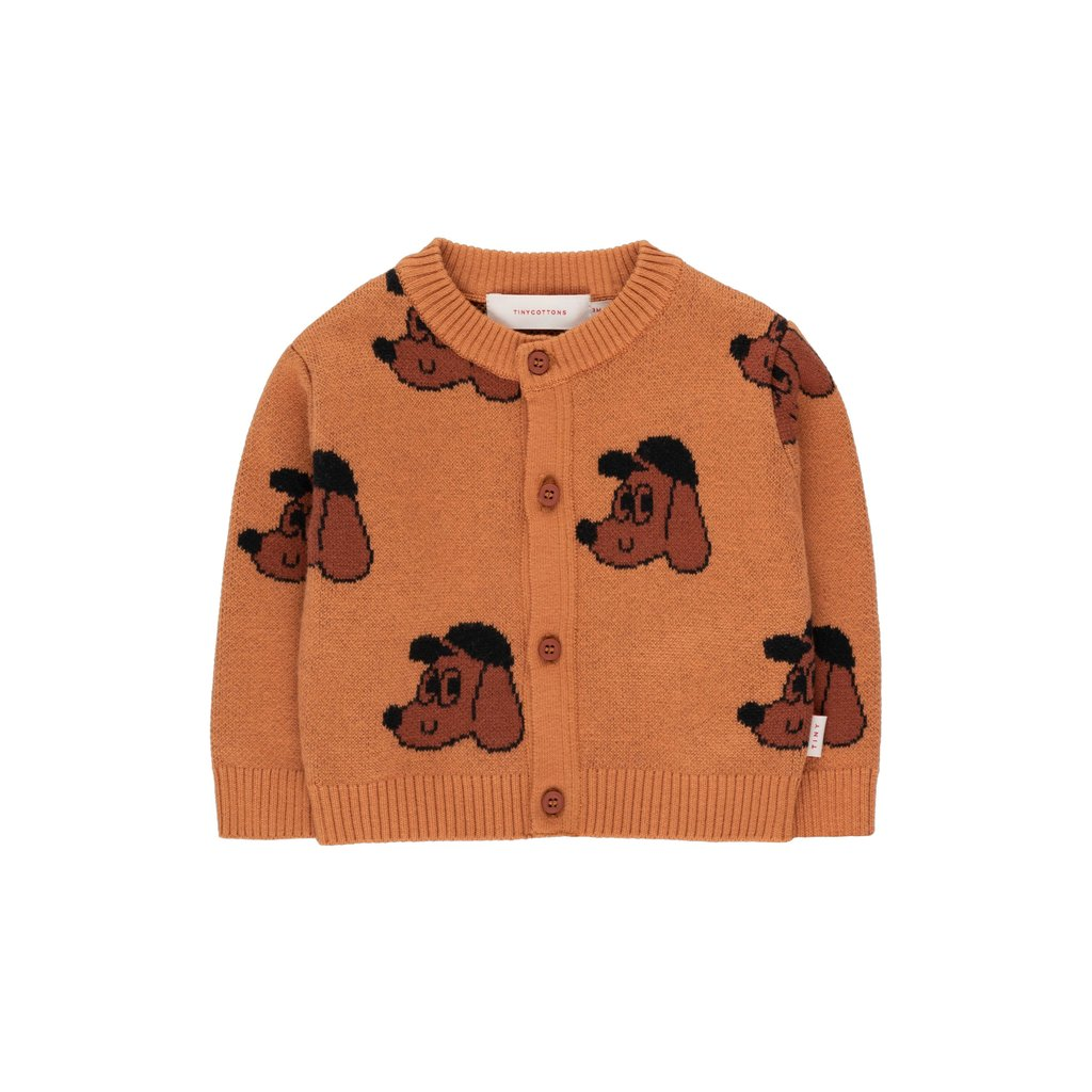 Tinycottons Dog Baby Cardigan Brown