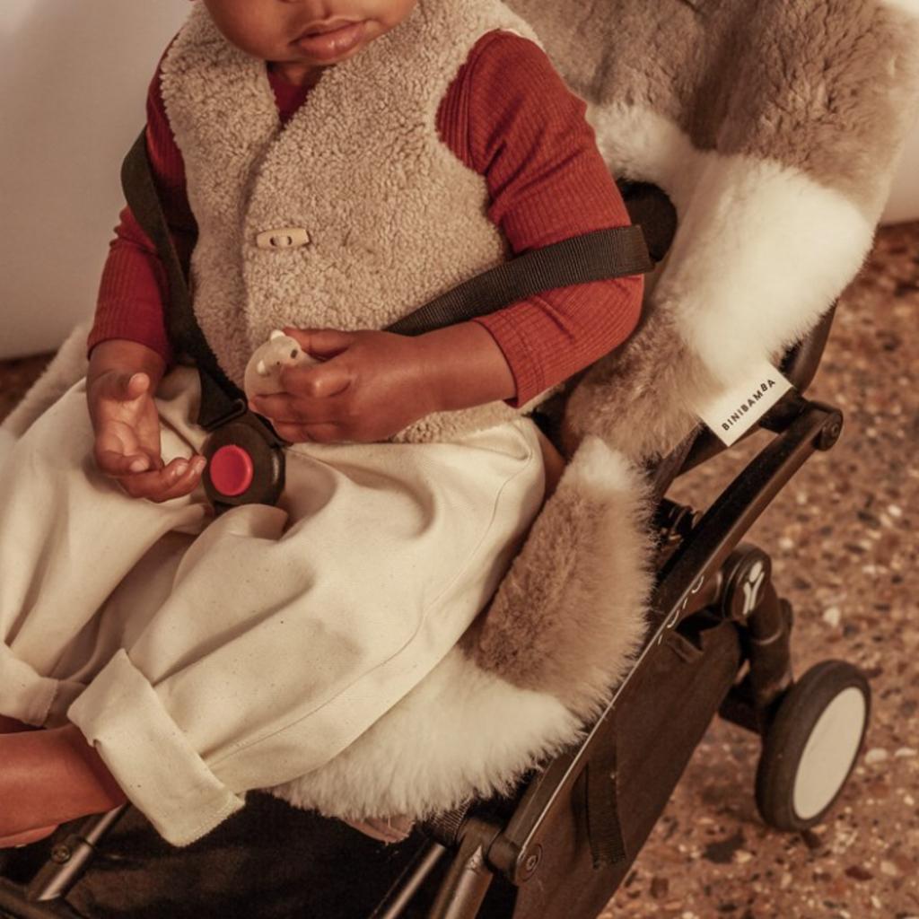 BINIBAMBA Sheepskin Baby Gilet Toast