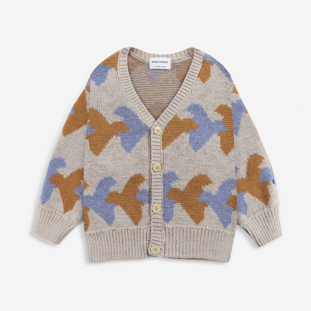 Bobo Choses Birds All Over knitted cardigan