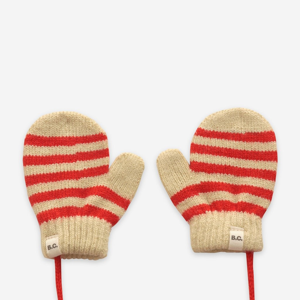 Bobo Choses Red Stripes knitted mittens