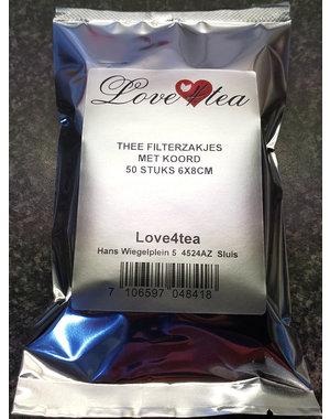 LOVE4TEA Theezakjes 6x8cm 50 stuks in zakje
