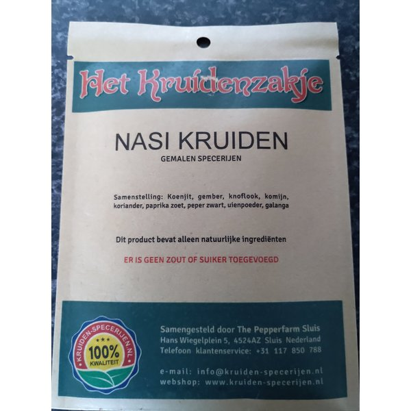 KRUIDEN-SPECERIJEN.NL Nasi kruiden gemalen specerijen (zakje 20 gram)