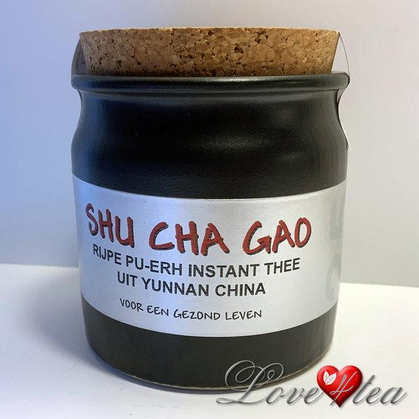 LOVE4TEA Instant Pu-erh Cha Gao thee in stenen potje met 25 gram