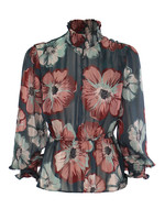 Kocca POLIANTHES BLOUSE Print Pink/Acquagreen