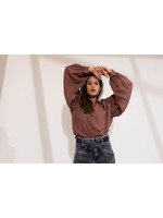 Anna BLOUSE MET POFMOUW Rust Solid